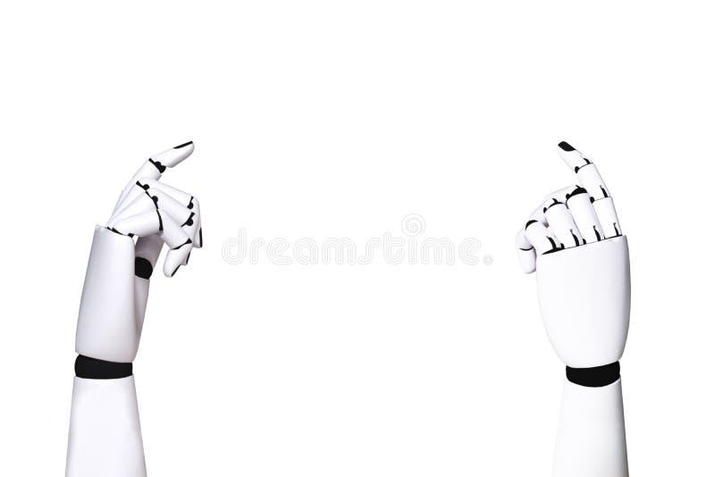 Robot ręki przemysł 4 i mechaniczna pojęcie technologia (0) na bielu ilustracji