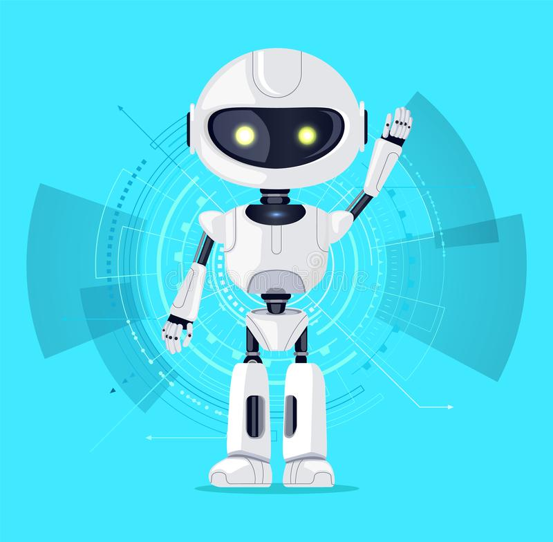 Robot and Interface Azure Vector Illustration. Robot with raised arm and interface consisting of lines and circles, azure poster with robotic creature and screen royalty free illustration