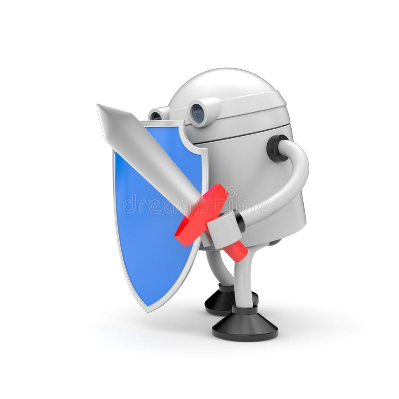 Robot ready to fight. Robot with shiled and sword. Robot ready to fight. Robot with blue shiled and sword stock illustration