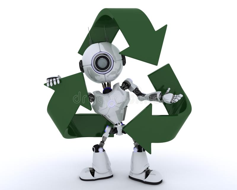 Robot with recycling symbol stock illustration
