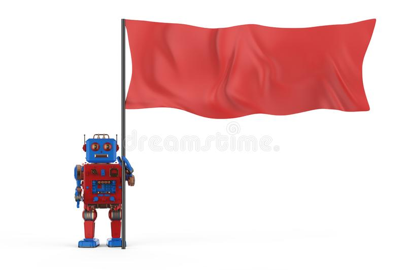 Robot with red flag vector illustration
