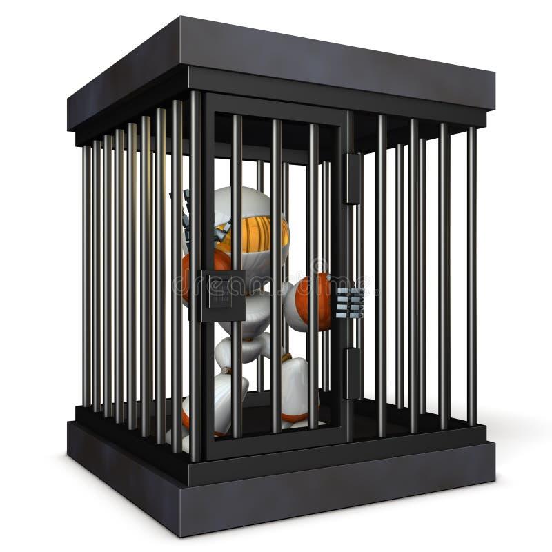 Robot refrenado por la prisión Él es cargas falsas de grito libre illustration