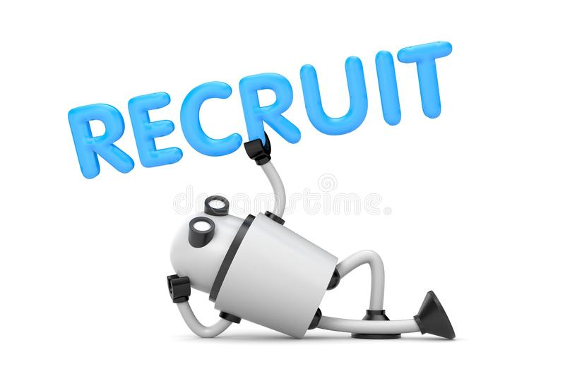 Robot is in a relaxed position holds the word - Recruit royalty free illustration