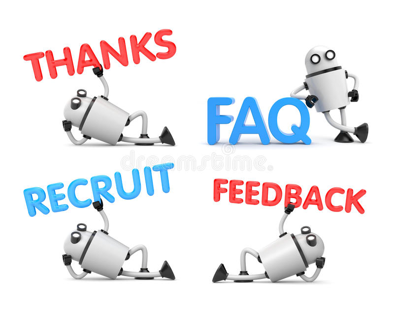 Robot is in a relaxed position holds the words - Feedback, FAQ, recruit, thanks stock illustration