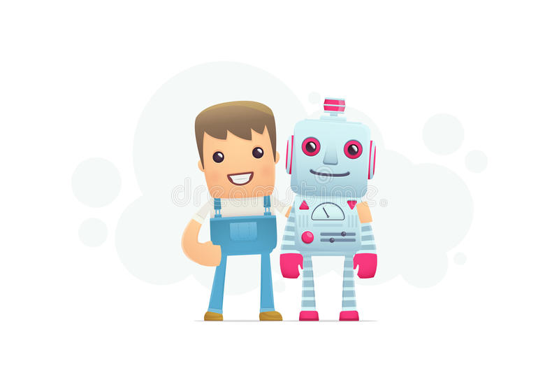 Robot repair vector illustration