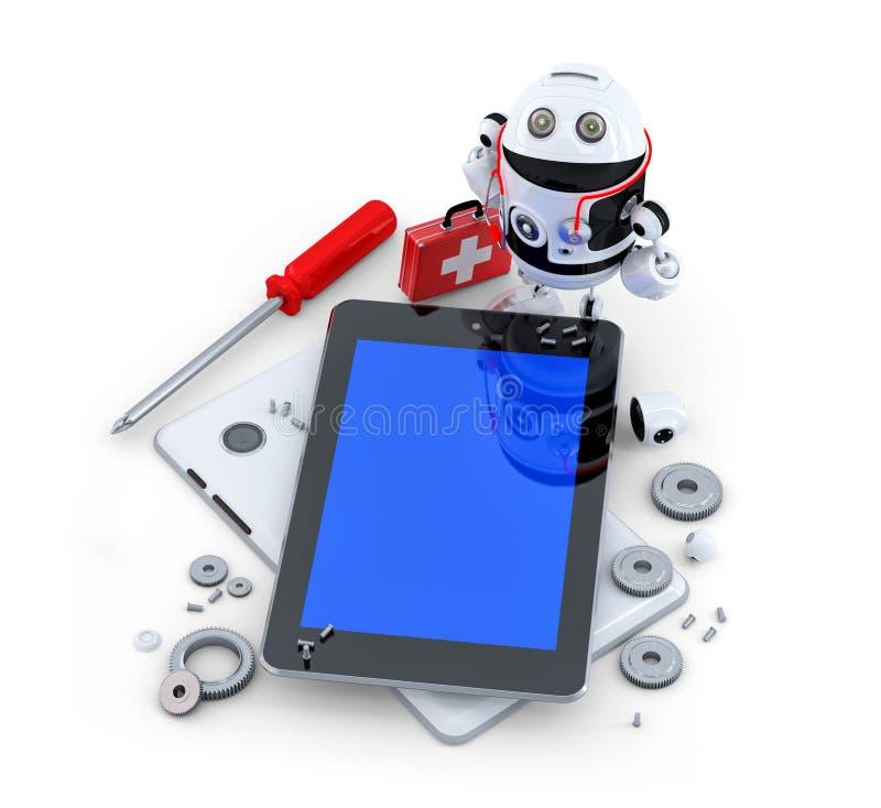 Robot repairing tablet computer. royalty free illustration