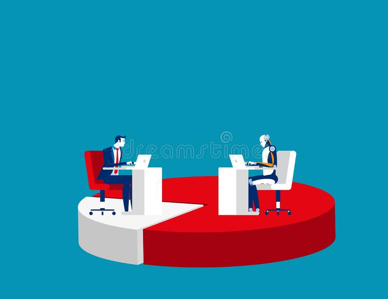 Robot replace industry of human business. Concept business technology vector illustration. Technology, Working, Human Vs Robot stock illustration