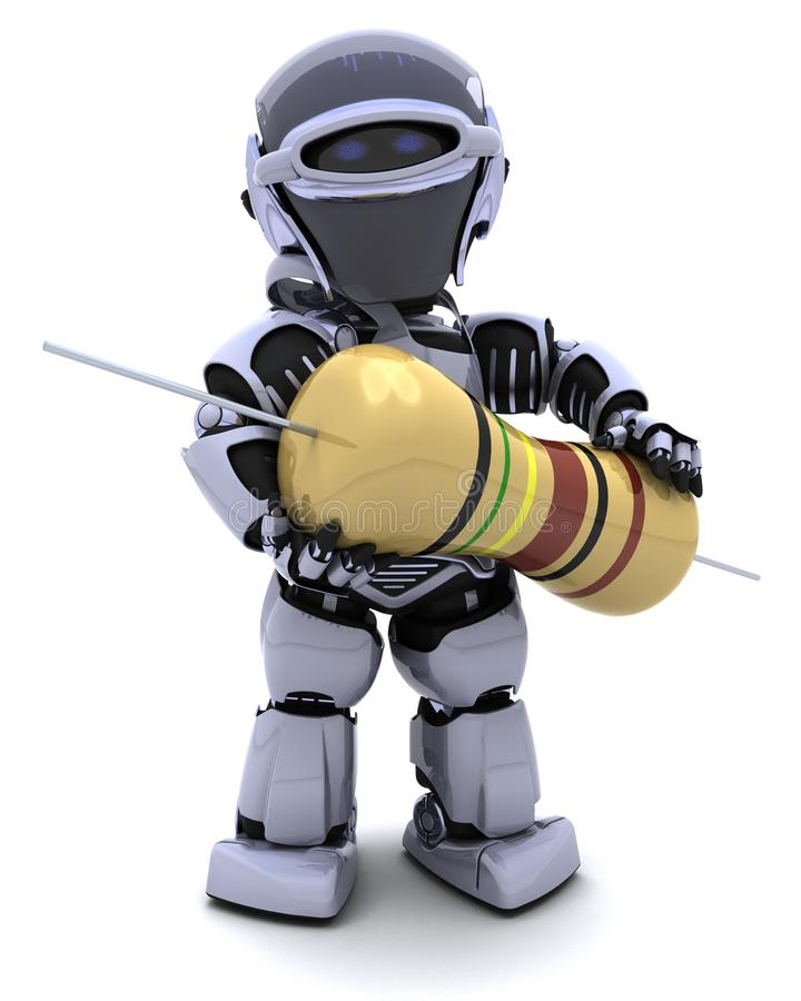 Robot with a resistor vector illustration