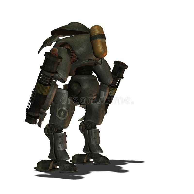 Robot restant de Steampunk par derrière illustration libre de droits