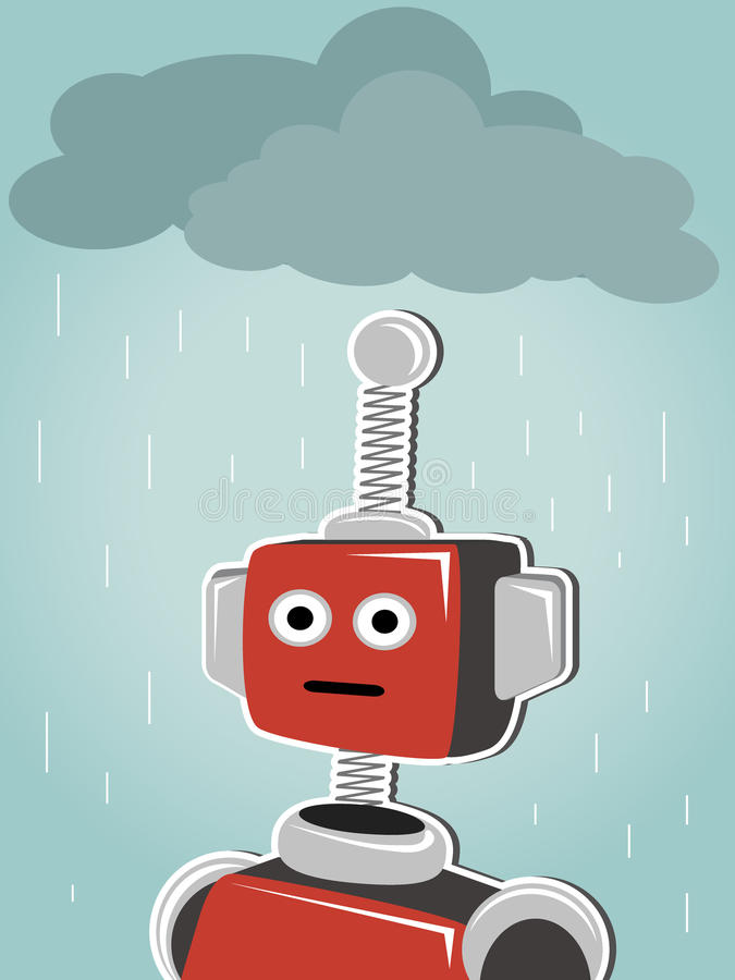 Robot restant sous les nuages et la pluie photos stock