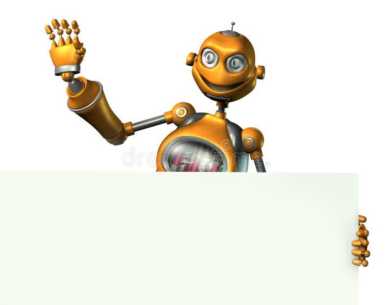 Robot retenant le bord d'un signe blanc - comprend le chemin de découpage illustration stock