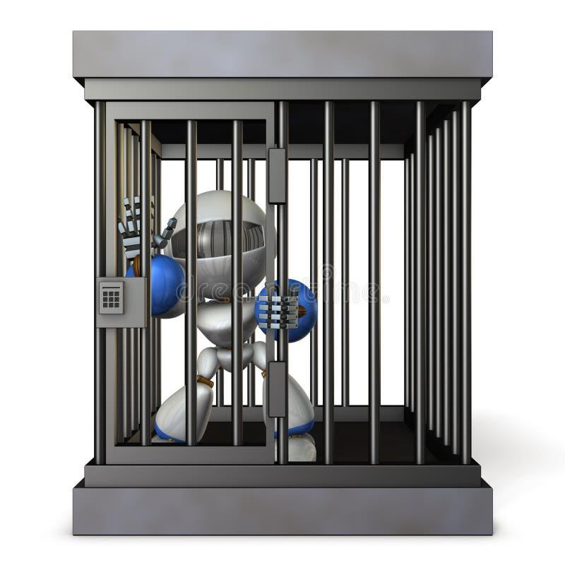Robot retenu par la prison Il est les frais faux de cri illustration de vecteur