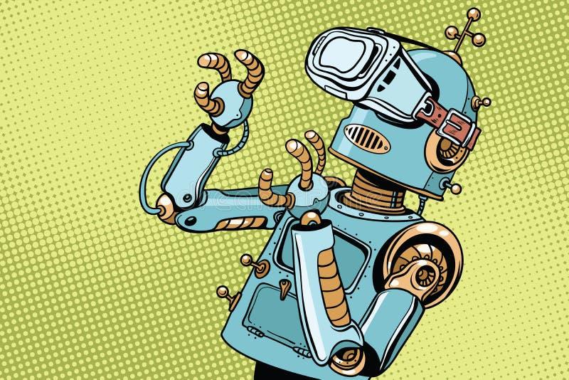 Robot retro asustado en vidrios de VR ilustración del vector