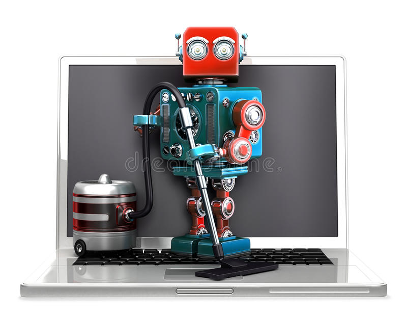Robot retro con el ordenador portátil y el aspirador Aislado Contiene la trayectoria de recortes stock de ilustración