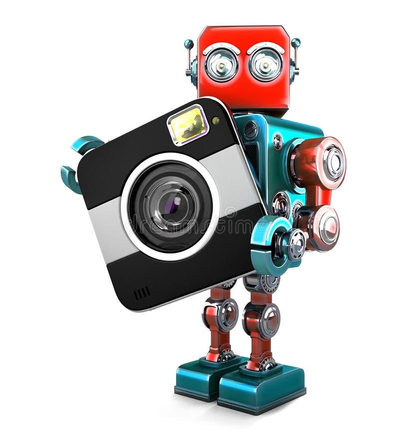 Robot retro con la cámara Contiene la trayectoria de recortes ilustración del vector