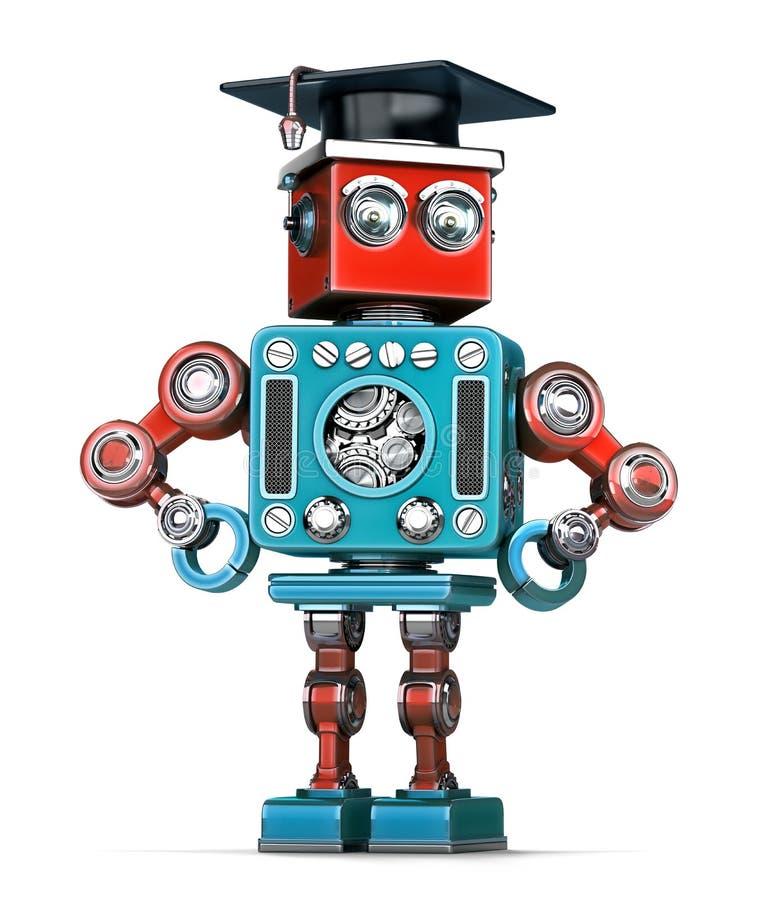 Robot retro de la graduación Aislado Contiene la trayectoria de recortes ilustración del vector