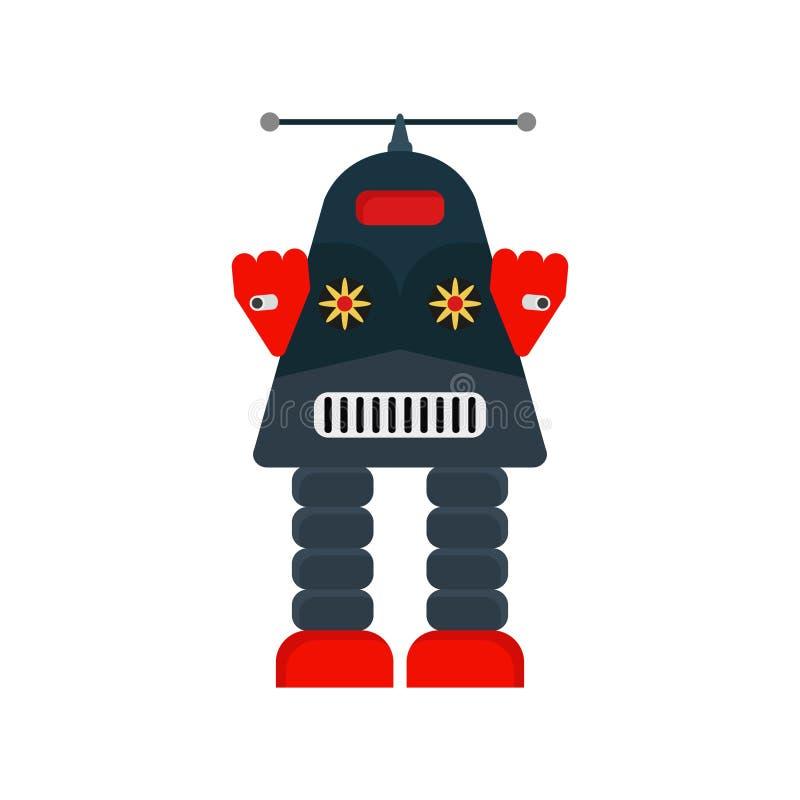 Robot Retro robot, robot i plan designstil royaltyfri illustrationer