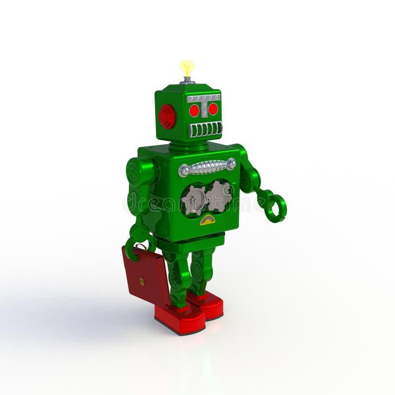 Robot retro verde que celebra un ejemplo de la cartera 3d aislado en un fondo blanco imágenes de archivo libres de regalías