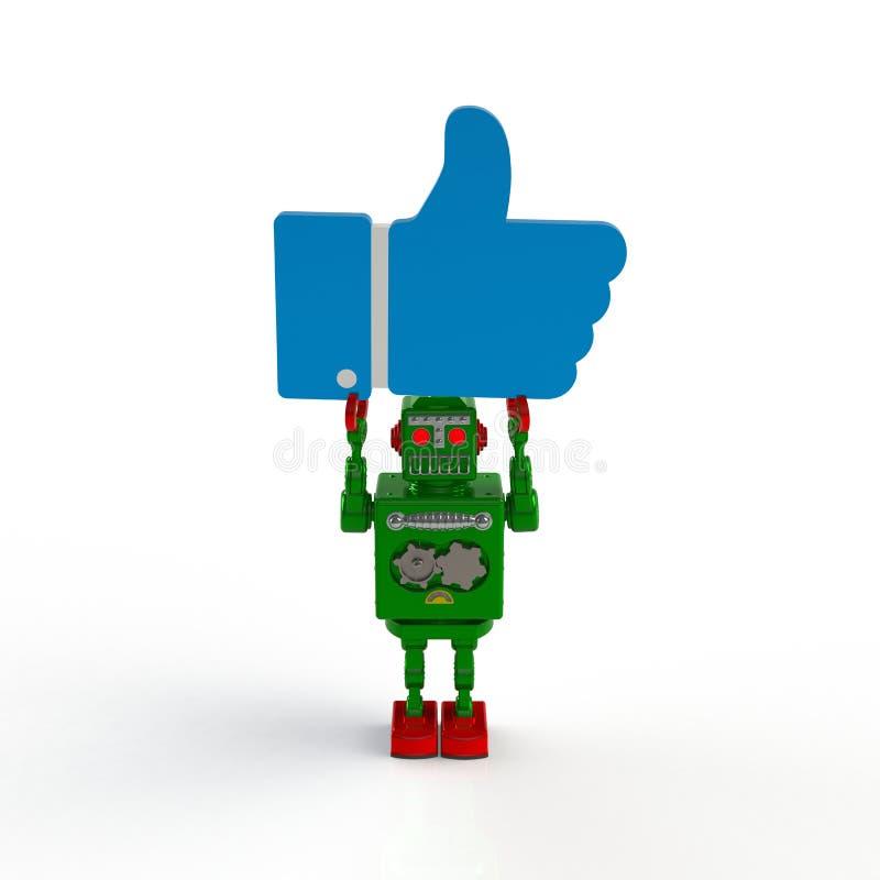 Robot retro verde que se sostiene como el ejemplo del icono 3d aislado en un fondo blanco libre illustration