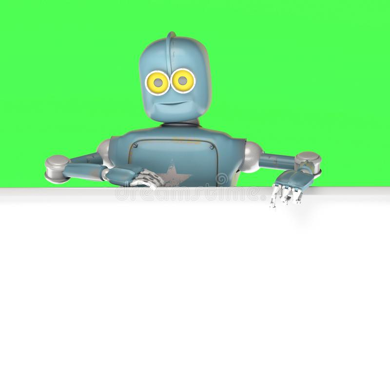 Robot retro vitage peeks out from behind the walls banner stock illustration