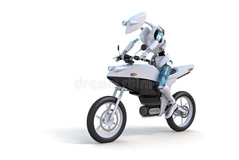 Robot Riding Motorcycle royalty free illustration