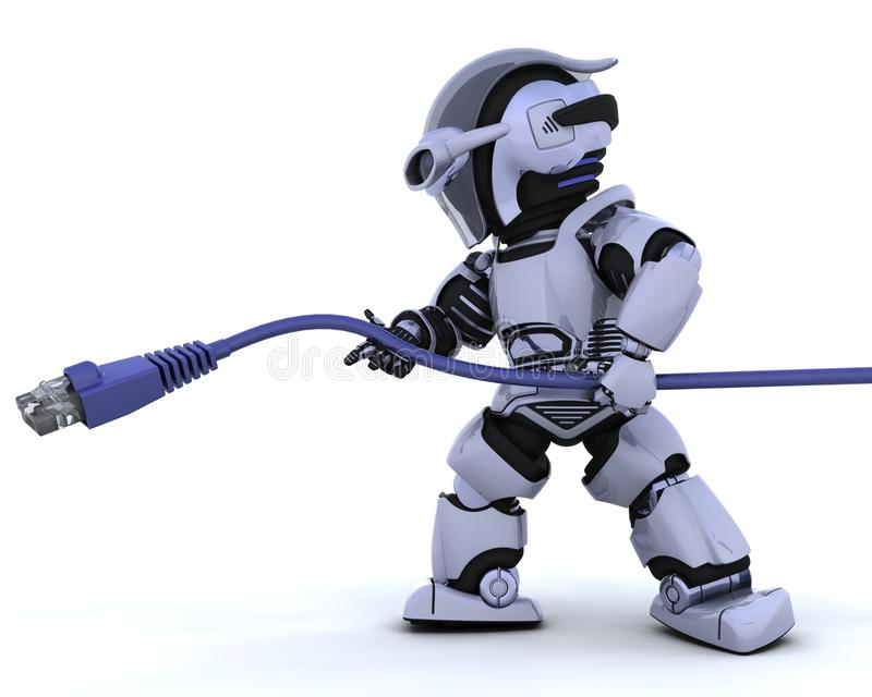 Robot with RJ45 network cable royalty free illustration