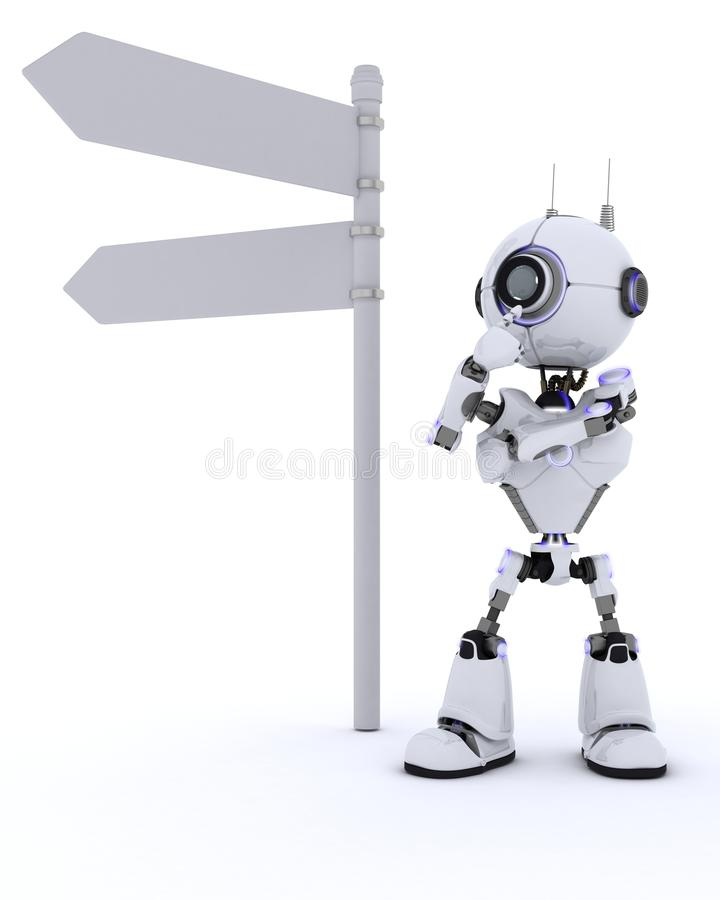 Robot with road sign. 3D Render of a Robot with road sign vector illustration