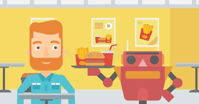 Robot robi kawie dla klienta przy sklep z kawą ilustracji