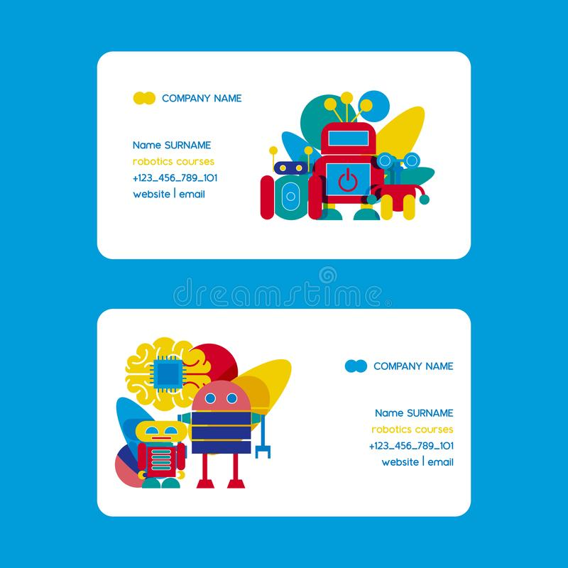 Robot, robotic brain with chip, heart, friend design for kid party set of business cards vector illustration stock illustration