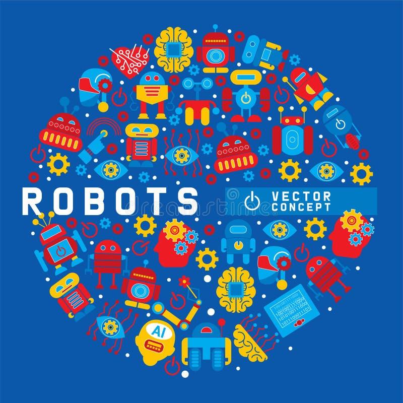 Robot, robotic brain, heart, friend design for kid party round pattern vector illustration. Celebration. Futuristic vector illustration