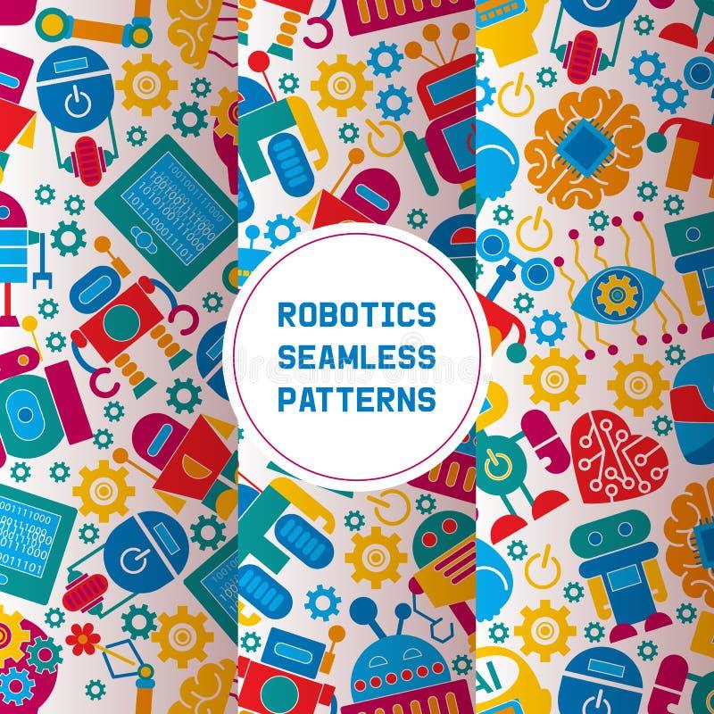 Robot, robotic brain, heart, friend design for kid party set of seamless patterns vector illustration. Celebration royalty free illustration