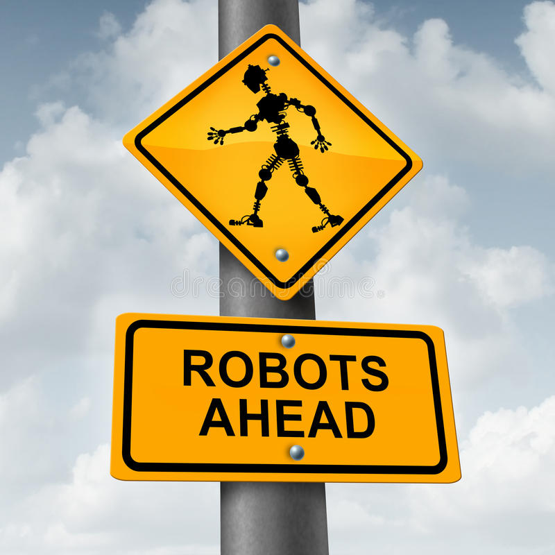 Robot And Robotic Concept. Robot and robotic technology concept as a traffic sign with a futuristic humanoid cyborg icon as a symbol for future innovation in royalty free illustration