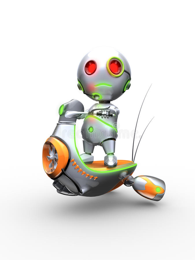 Robot on the robotic scooter royalty free stock photography