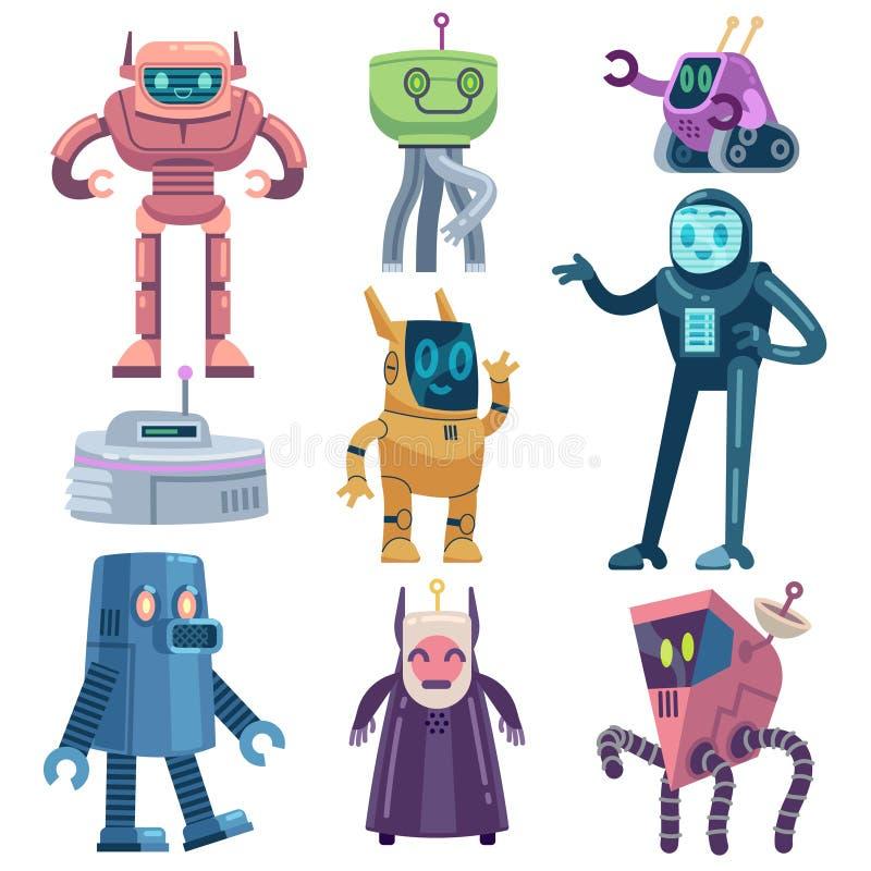 Robot Roboty transformatorowe, nowoczesna technologia i asystent android Postacie z wektora rysunkowego przyjaznych urządzeń futu ilustracji