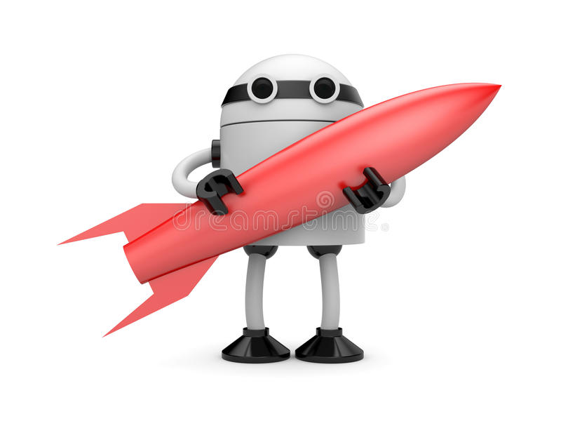 Robot With Rocket Stock Image