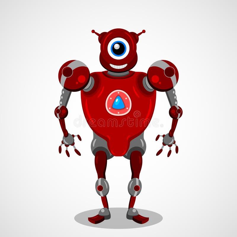 Robot rojo, carácter mecánico, diseño gráfico de vector libre illustration