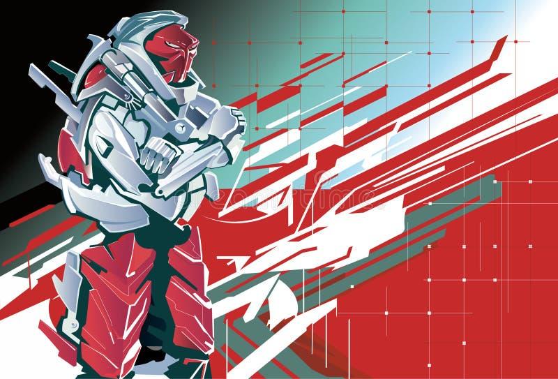 Robot rojo - ejemplo ilustración del vector