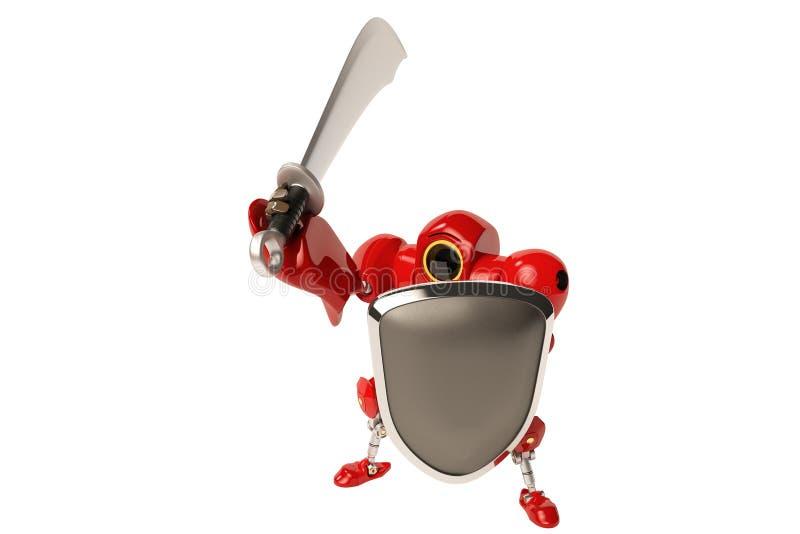 Robot rojo que sostiene la espada y el escudo libre illustration