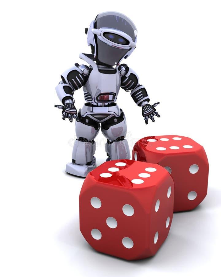 Robot rolling casino dice stock illustration