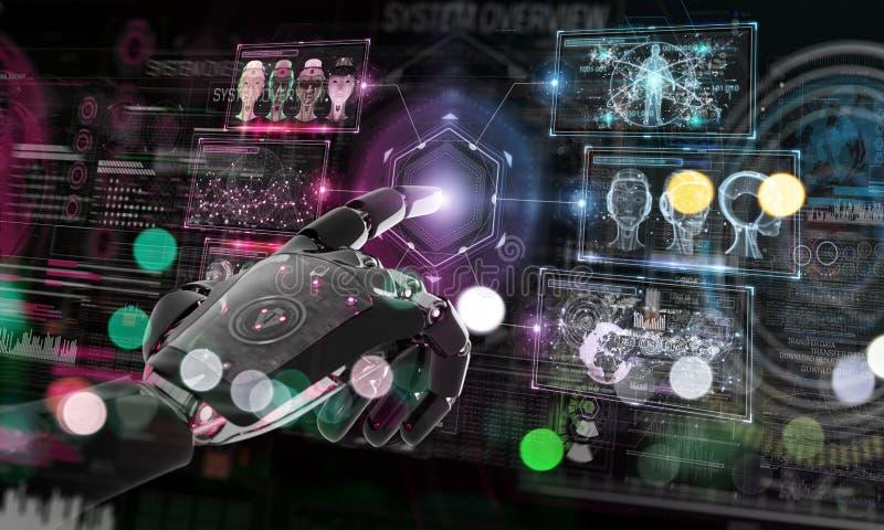 Robot rosso che incide un sistema con la rappresentazione digitale degli schermi 3D illustrazione di stock