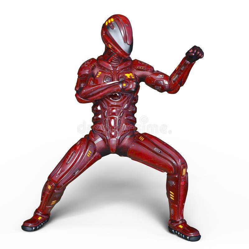 Robot rouge illustration de vecteur