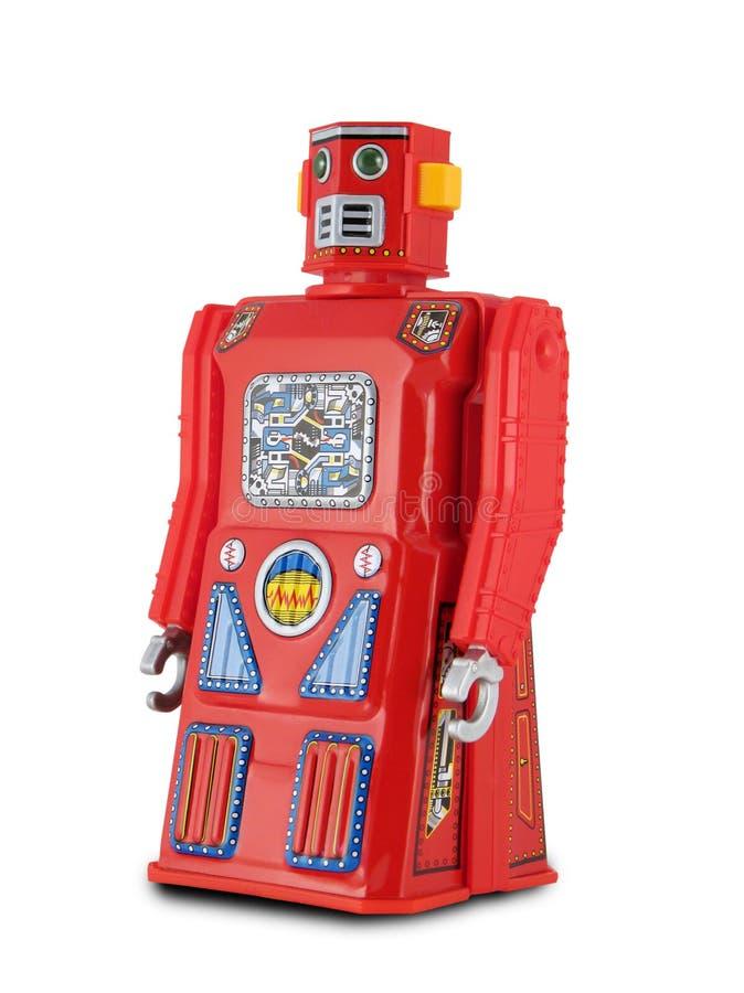 Robot rouge de jouet de bidon photographie stock libre de droits