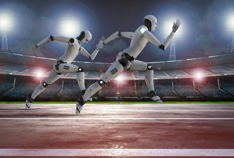 Robot running on racecourse. 3d rendering robot running on racecourse in stadium stock photo