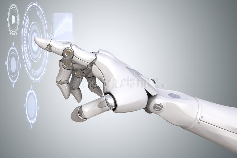 Robot`s arm working with Virtual Reality touchscreen stock illustration
