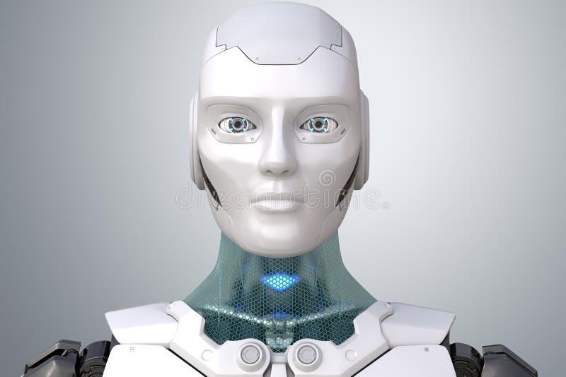 Robot` s hoofd in gezicht vector illustratie