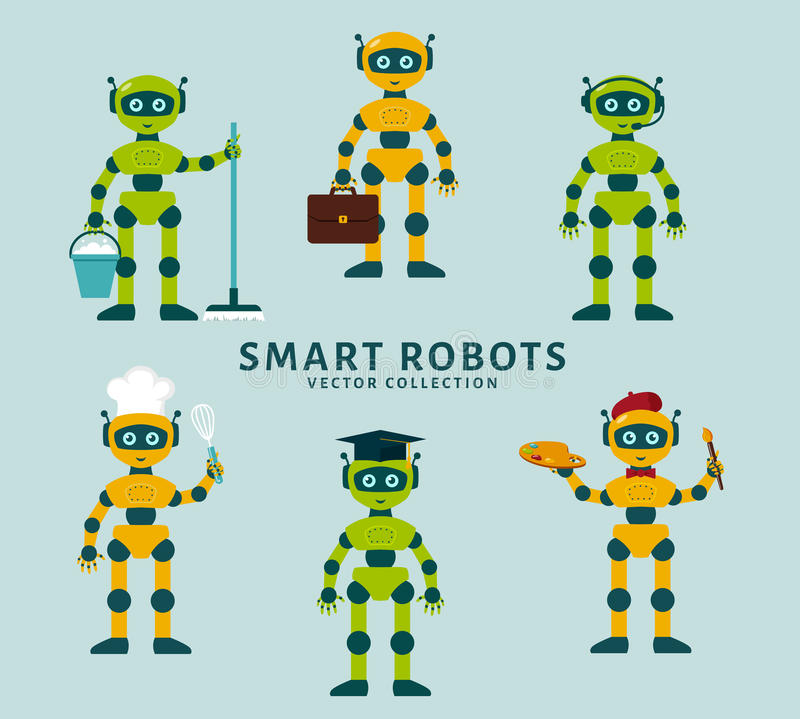 Robot's occupations. Vector collection. vector illustration
