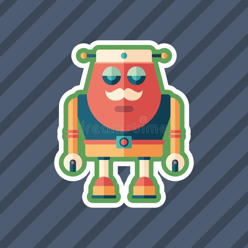 Robot sailor sticker flat icon with color background. vector illustration