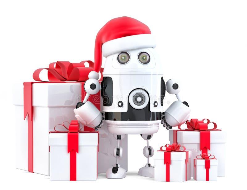 Robot Santa avec des boîte-cadeau Concept de Noël D'isolement, contient le chemin de coupure illustration de vecteur