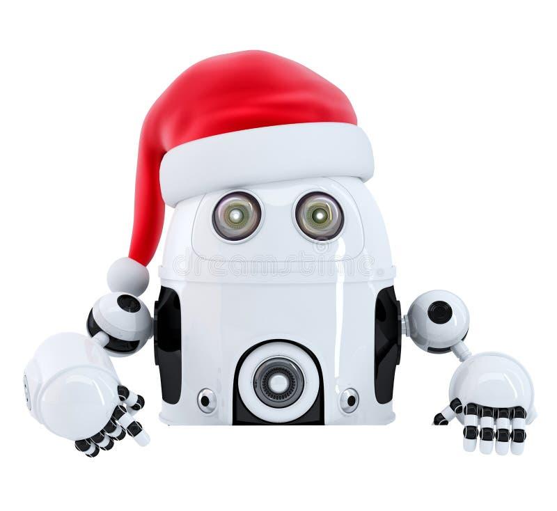 Robot Santa che indica nell'insegna in bianco della pubblicità Isolato Percorso di Cliping illustrazione vettoriale