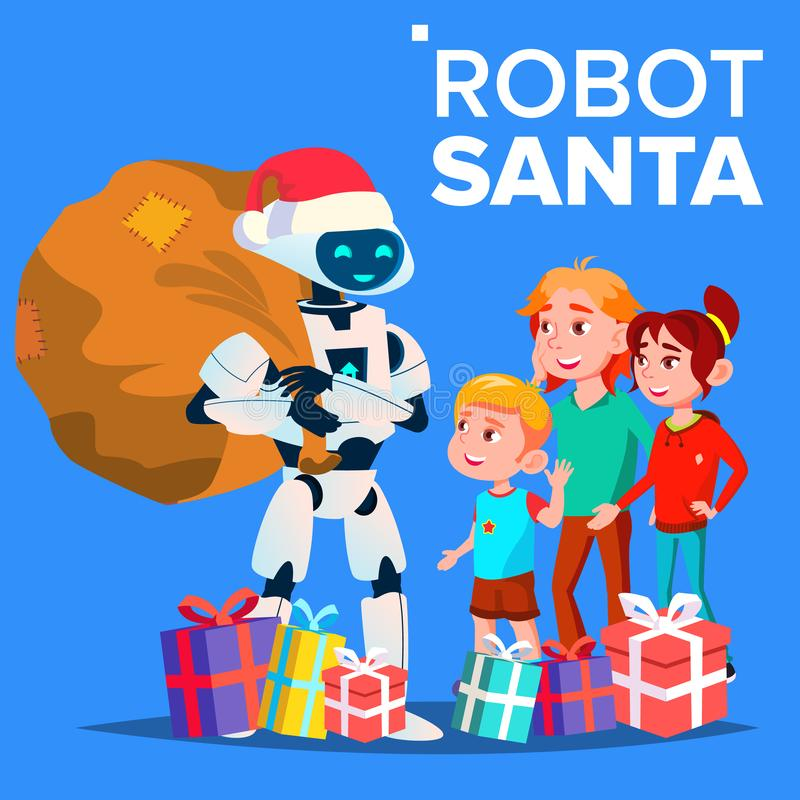 Robot In Santa Claus Hat And Gifts With Children Vector. Isolated Illustration vector illustration